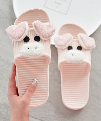 Dudu Town TOWN Women's Slippers Pink - Pink Pig Ribbed Slipper - Women