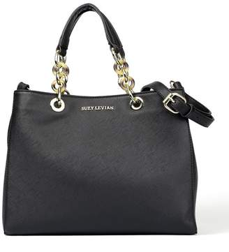 LeVian Suzy Saffiano Faux Leather Chain Strap Satchel