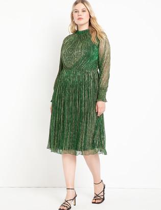 ELOQUII Puff Sleeve Gathered Waist Dress