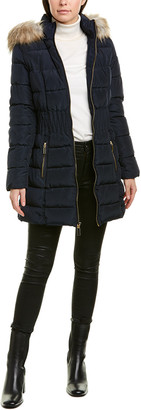 Laundry by Shelli Segal Smocked Puffer Coat