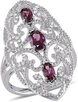 Ice Sofia B 1 2/7 CT TW Rhodolite Sterling Silver Vintage Long-Finger Ring with Diamond Accents