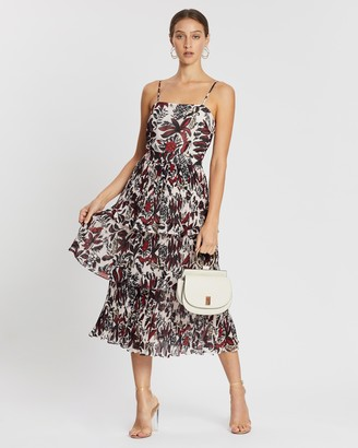 Whistles Autumnal Assorted Leaves Pleated Tiered Dress