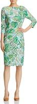 Basler Leaf-Print Sheath Dress