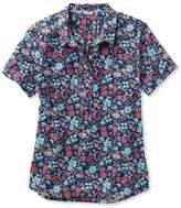 L.L. Bean L.L.Bean Textured Cotton Popover Shirt, Short-Sleeve Floral