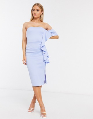 True Violet ruffle bandeau midi dress in pale blue