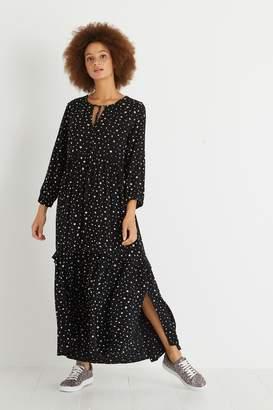 Oliver Bonas Womens Black Star Spot Tiered Midi Dress - Black