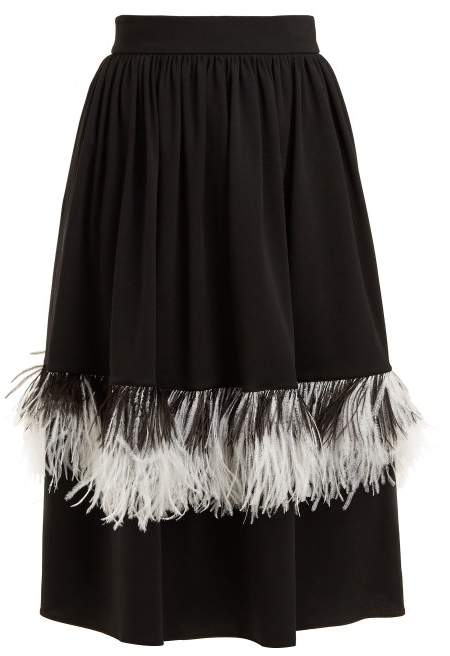 Christopher Kane Feather Embellished Wool Blend Midi Skirt - Womens - Black