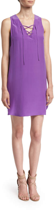 Amanda Uprichard Pace Lace-Up Shift Dress, Purple