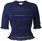 3.1 Phillip Lim knitted lace-detail top - women - Nylon/Polyester/Spandex/Elastane/Viscose - XS