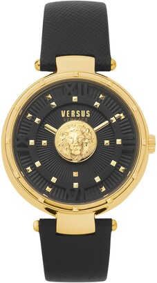 Versace Moscova Leather Strap Watch, 38mm