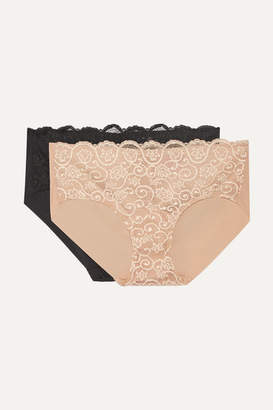 Commando Set Of Two Double Take Lace-paneled Stretch Briefs - Neutral