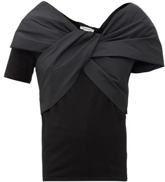 Alexander McQueen Taffeta-bow Cotton-jersey Top - Black