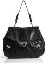 Salvatore Ferragamo Black Pebbled Leather Gancio Hobo Shoulder Handbag
