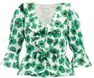 Borgo de Nor Poppy Floral-print Cotton-poplin Top - Green White