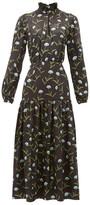 Borgo de Nor Eugenia Floral-print Satin-jacquard Midi Dress - Womens - Black Blue