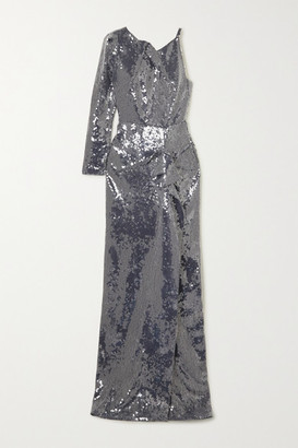 Roland Mouret Delamere One-sleeve Draped Sequined Gown - Navy