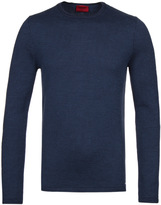 Hugo Shevro Blue Extra Fine Merino Wool Sweater