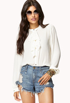 Forever 21 Tie-Neck Georgette Blouse