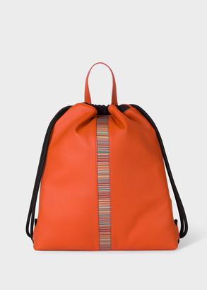 Paul Smith Orange Leather 'Signature Stripe' Drawstring Backpack