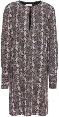 Equipment Bonnie Snake-print Washed-crepe Mini Dress