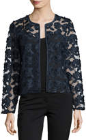 Neiman Marcus Floral-Embroidered Short Jacket, Navy