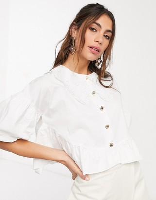 Sister Jane relaxed shirt with vintage lace collar and peplum hem