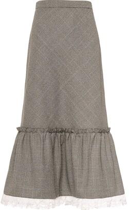 Miu Miu Peplum-Hem Midi Skirt