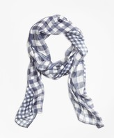 Brooks Brothers Gingham Patchwork-Print Silk-Chiffon Oblong Scarf