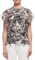 Lanvin Floral Flutter-Sleeve Blouse, Black/White