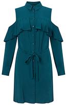 Miss Selfridge Cold Shoulder Dress, Petrol