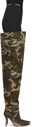 Vetements Green Camo Cargo Wader Boots
