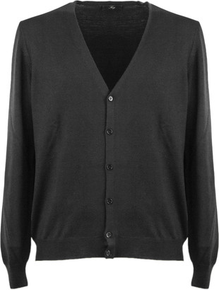 Fay Black Virgin Wool Cardigan