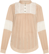 Sea Embroidered cotton and silk-blend top