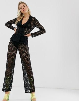 Club L London sheer lace pants in black