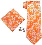 Landisun Paisley Mens SILK Tie Set: Necktie+Hanky+Cufflinks