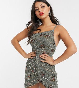Asos DESIGN Petite asymmetric aztec embellished mini dress with wrap skirt