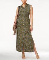 MICHAEL Michael Kors Size Quin Floral-Print Maxi Shirtdress