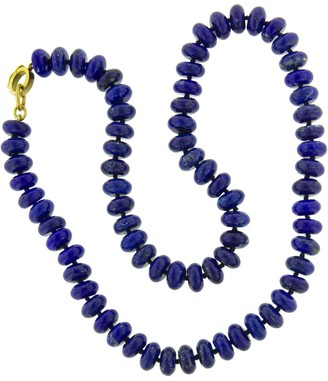 Irene Neuwirth 8mm Lapis Beaded Yellow Gold Necklace