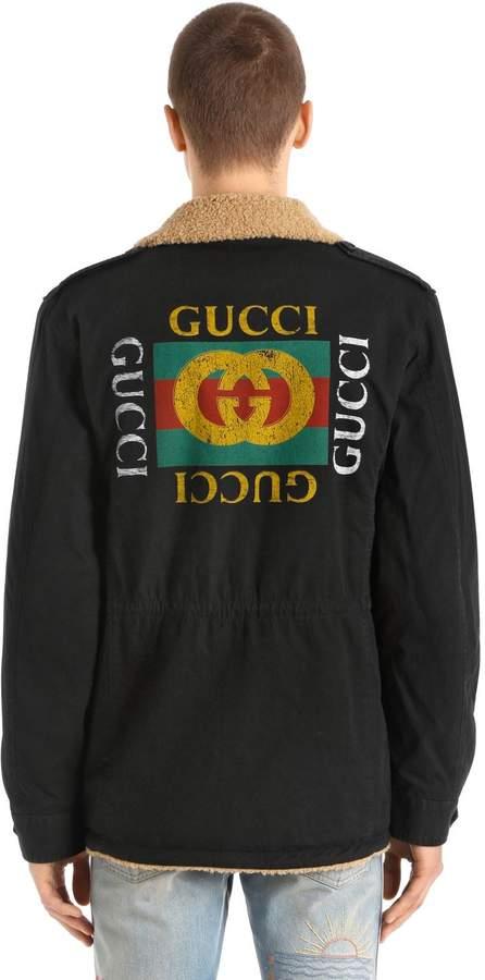 Gucci Cotton & Faux Shearling Field Jacket