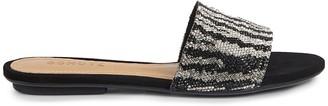 Schutz Elara Embellished Zebra-Stripe Slide Sandals