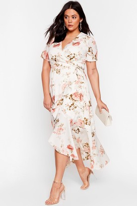 Nasty Gal Womens That Guest Plus Floral Wrap Dress - White