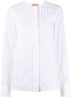 No.21 button-front pleated shirt