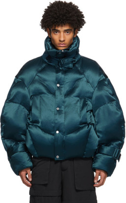 CHEN PENG Blue Down High Necked Puffer Jacket