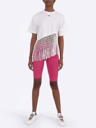 Off-White Asymmetrical Hem Fishnet T-shirt