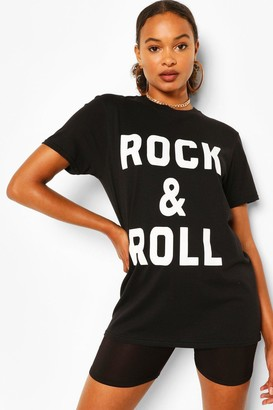 boohoo Rock & Roll Slogan T-Shirt