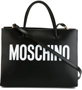Moschino logo print square tote - women - Leather - One Size
