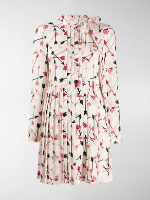 RED Valentino Arrow Print Pleated Dress
