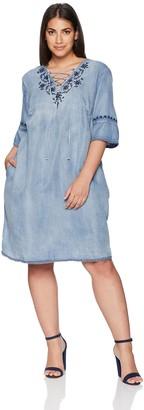 Vintage America Blues Women's Plus Size Alisandra Peasant Vneck Dress
