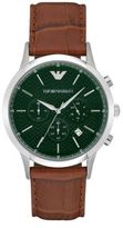 Emporio Armani Stainless Steel Leather Strap Watch