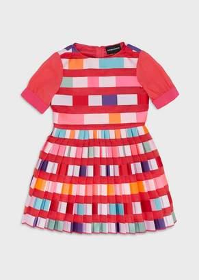 Emporio Armani Organza Dress With Multicolour Plisse Skirt